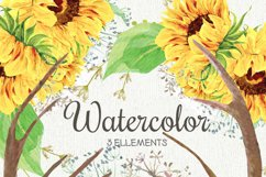 Watercolor Rustic Bouquets Sunflower with Horns & Wild Herbs Product Image 2