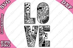 Love Svg,Love Cut Files,Mandala Love,Zentangle Love,Love Svg Product Image 2