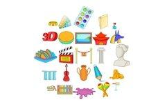 Arts icons set, cartoon style Product Image 1