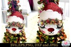 Christmas Kitty Eyelashes Santa hat, Christmas Cat Ornament Product Image 2