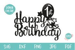 Happy 1st Birthday Cake Topper SVG Product Image 2