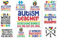 Autism Teacher, SVG Bundle of 10 Designs, DXF PNG Cut Files Product Image 1