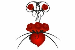 Red roses with heart. Product Image 3
