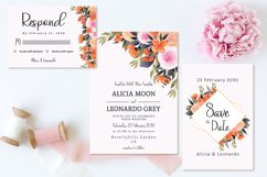 Lovely Peach And Pink Floral Wedding Invitation Set Product Image 2