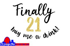 21st birthday SVG buy me a drink svg dxf cut file Silhouette Product Image 2