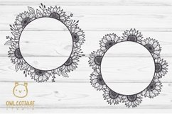 SUNFLOWERS BIG BUNDLE SVG, Floral borders and monograms Product Image 3