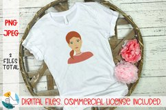 Girl portrait PNG, JPEG file. Woman face clipart. Female PNG Product Image 3
