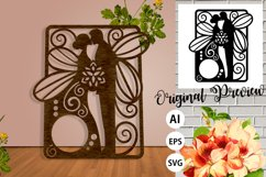 Papercut Wedding Couple with Butterfly Wings, Invitation Art Product Image 4