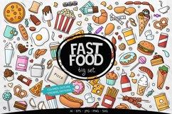 Doodle Fast Food Big set Clipart Product Image 1