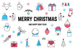 Christmas Line icons and patterns Product Image 1