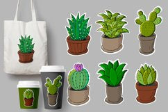 Set of cartoon images of cacti in flower pots. Cacti Product Image 1