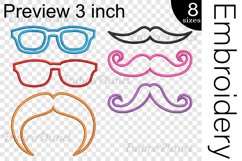 Applique Glasses And Mustaches- Embroidery Files - 1491e Product Image 2