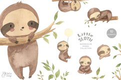 SLOTH clipart. Watercolor baby sloth png Product Image 1