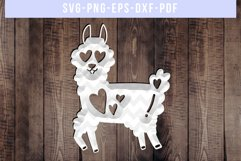 Funny Llama Papercut Template, Valentine Paper Art, SVG, DXF Product Image 3