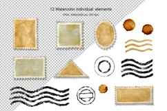 Postage stamp, postmark, watercolor clipart, envelope design Product Image 2