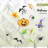 Halloween watercolor clipart, Pumpkin, Autumn leaves, wooden Product Image 2