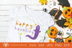 Halloween Svg Cut Happy Haunting Quote Ghost Clipart Product Image 2