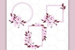 Pink floral clipart, floral frames Product Image 3