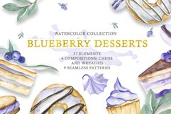 Watercolor collection of Blueberry Desserts Product Image 1
