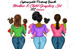 Best Friends Mother's Day Clipart Mom and Child Baby PNG Product Image 1