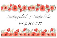 Red Poppies and Wild Grasses, Watercolor clip art, PNG, JPG Product Image 5