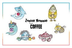 Coffee Clipart, Sublimation, Zombie, Mombie, PNG, Unicorn Product Image 4
