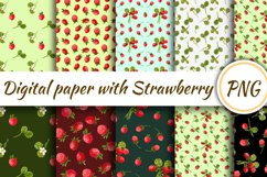 Digital paper with strawberries. Seamless pattern with straw Product Image 1