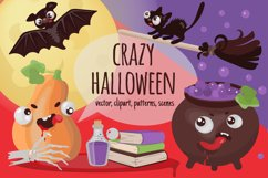 CRAZY HALLOWEEN Hand Drawn Flat Style Vector Set Product Image 1