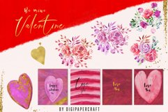 Valentine's Day Digital Paper, Romantic Watercolor clipart Product Image 2