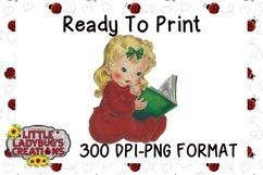 Vintage Pajama Girl 300DPI PNG Printable Digital Design Product Image 1