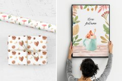 Watercolor Autumn Clipart Collection. Cozy patterns Product Image 6