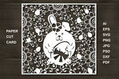 Easter Eggs Card SVG Cut file for Crafters. Bunny cut Product Image 1