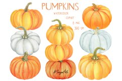 Pumpkins Clipart, Pumpkin Pyramid, Hand Painted Watercolor Product Image 2