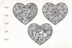 Floral Heart Zentangle SVG Product Image 1