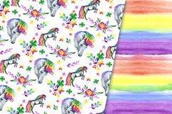 Rainbow unicorns digital paper pack Product Image 5
