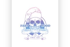 Hand drawn sketch skull with cooks hat Product Image 1
