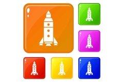 Rocket exploration icons set vector color Product Image 1