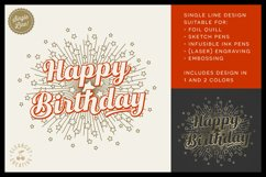Foil Quill HAPPY BIRTHDAY single line sketch design SVG Product Image 1