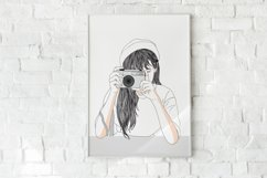 Art Print - Girl secretly taking pictures Product Image 1