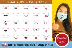 25 Cute mouths for Medical Face Mask. SVG Kawaii Style. Product Image 1