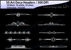 Art deco / art deco headers / art deco header clipart / art deco digital clipart / art deco frames / High Quality / template headers Product Image 4