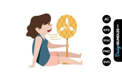 Girl in Hot Weather Clipart Product Image 1
