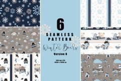 6 seamless pattern Winter Bears version B, repeat pattern Product Image 1