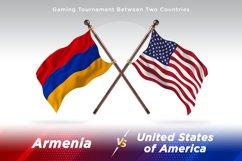 Algeria versus Armenia vs United States of America Two Flags Product Image 1