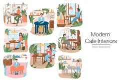 Modern Café Interiors vector illustration Product Image 1