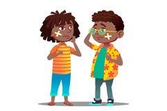 Sad Black Afro American Child Girl Product Image 1