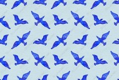 Watercolor flying bird animal blue seamless pattern vector Product Image 1