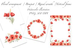 Red Poppies and Wild Grasses, Watercolor clip art, PNG, JPG Product Image 2