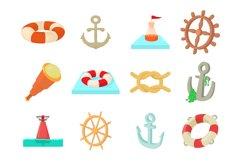 Sea object icon set, cartoon style Product Image 1