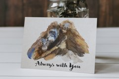Mother and Babies Orangutans - Watercolor Print and Clip Art Product Image 3